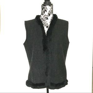 J. McLaughlin Fur-Trimmed Cashmere Vest